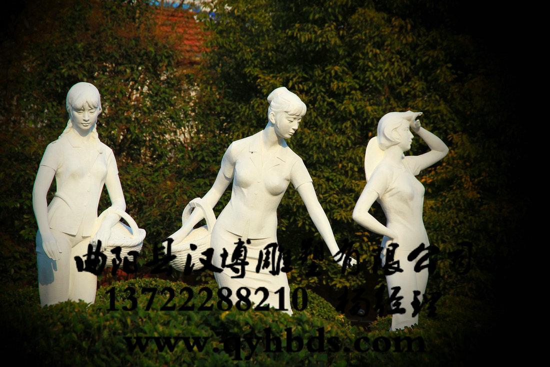 公园人物采茶女子雕塑加工_铜雕,铜雕加工,校园铜雕